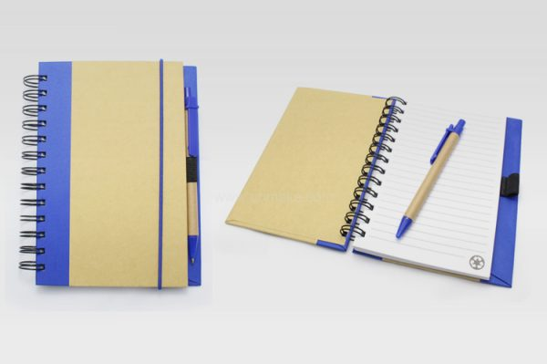 側翻彩邊環保簿,帶筆筆記簿,記事本,辦公文具