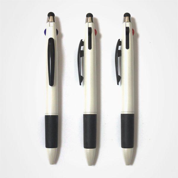 廣告走珠筆,手按直桿原子筆,辦公並文具,塑膠圓珠筆,觸控三色筆