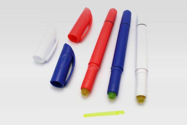 雙頭圓珠筆,塑膠廣告走珠筆,固體熒光筆,原子筆,禮品定制,二合壹熒光筆