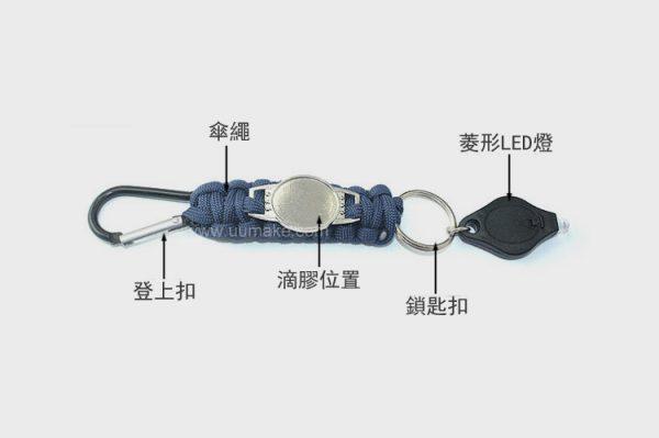 七芯傘繩LED燈鑰匙鏈,戶外運動登山扣求生鏈,登山裝備配件,批發,定做,定制,活動贈品,Key-chain,多功能鎖匙鏈